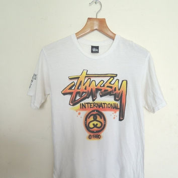 25% SALES ALERT Vintage 90's Stussy International 1980 T Shirt Skate Street Wear Swag Top Tee Punk Rock Hip Hop Size S