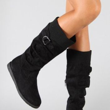 Bamboo Guiseppi-01 Sweater Knee High Boot
