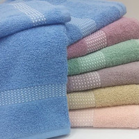 Check Border Bath Towels, Hand Towel and Wash Cloths-600gsm