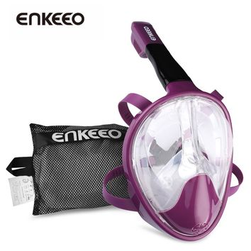 Enkeeo Underwater Scuba Anti Fog Full Face Diving Mask Snorkeling mask Set Respiratory Masks Safe and Waterproof S/M/L/XL