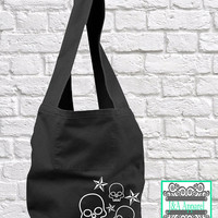 Skulls and Stars Tote Bag - Sling Bag - Direct Dye Bag - Comfort Colors