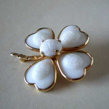 Vintage Four Leaf Clover Brooch Scarab Milk Glass Stones Unusual Pin