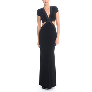 Sentimental NY Women's V-Neck Shimmery Cutout Long Gown | Overstock.com Shopping - The Best Deals on Party Dresses