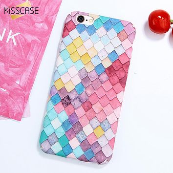 KISSCASE Colorful 3D Hard Phone Pattern Cases For iPhone 7 6 6S Plus Korean Girl Mermaid Fish Scale Case for iPhone 7 6s 5 5s se