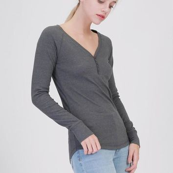 Charcoal Ribbed Long Sleeve Henley (final sale)