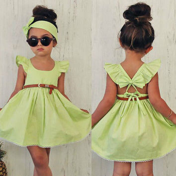 3-8Y Toddler Baby Girls Kids Cotton Summer Mini Dress Headband Set Princess Ruffles Lace Party Wedding Prom Bow Dress Sundress