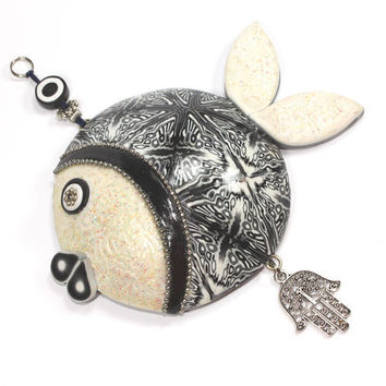 Elegant fish of fortune with black, white, pearl, silver and greys, Polymer clay fish, Wall decor fish white HAMSA, Handmade lucky fish