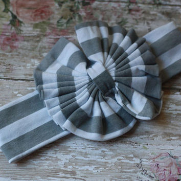 TOPKNOT HEADWRAP, cotton, headband, bow, baby, toddler, girl, gray, grey, white, Spring, Matilda Jane, couture, soft, newborn, messy bow