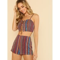 Lace Up Cami Top & Shorts Co-Ord