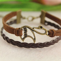 bracelet--swan bracelet,retro bronze charm,brown braid leather cord
