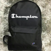 Champion New fashion letter print embroidery backpack couples travel bag Black