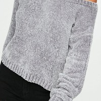 Missguided - Grey Off the Shoulder Chenille Sweater