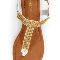 Bamboo Promise 03 White and Gold Beaded Thong Sandals
