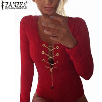 Plus Size ZANZEA Rompers Womens Slim Fit Playsuits Long Sleeve Tops Jumpsuit Sexy Bodysuit Short Overalls Ladies Lace Up