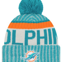 Miami Dolphins NFL17 Sideline Cuffed Pom Knit Hat By New Era