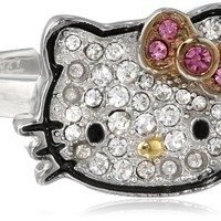 "Hello Kitty Girls' ""Black Outline"" Sterling Silver Black Pave Crystal Face Pink Crystal Bow Ring, Size 7"