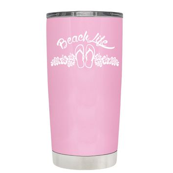 Beach Life Flowers and Sandals on Pretty Pink 20 oz Tumbler Cup