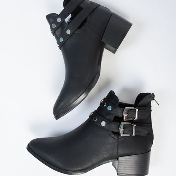 Studded Strapped Ankle Booties