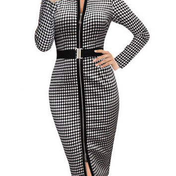 Long Sleeve Plaid Zipper Sheath Midi Slit Bodycon Dress