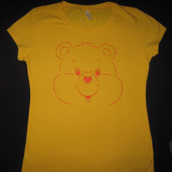 Care Bears Yellow Womens Ladies 80s cartoon by Newgeneration777