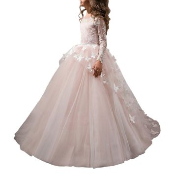 Abaowedding pretty light pink flower girl dresses 2017 butterfly tulle skirt lace long sleeve communion dress for girls 8 10 12