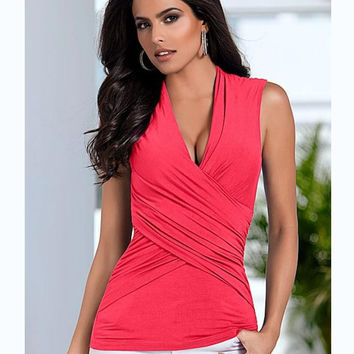 Deep V-neck Sleeveless Cross Wrap Slim Blouse