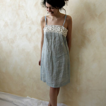 knee length linen dress White Shores by 8fantasie8 on Etsy