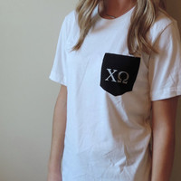 New Chi Omega Soft Black & White Pocket T-shirt, Long Sleeve, Crewneck // Size S-XL