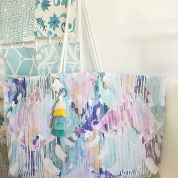 MoBay Colorful Tote Bag with tassels (not shown in first image), Bridesmaids Gift, Preppy Tote Bag, Beach Bag