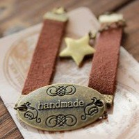 Retro Metal Oval HANDMADE Star Suede Leather Bracelets 2670