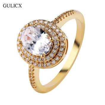GULICX 2017 New Fashion Double Halo Finger Ring Gold-color Ring Big Oval Crystal CZ Zirconia Wedding Jewelry For Women R288