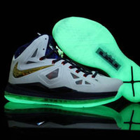 glow in the dark nike lebron x 10 white and navy blue gold medal mens basketball shoes
