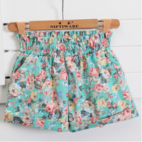 Summer Fashion European Style Floral Cotton Female Shorts For Women Plus Size Casual High Waist 2014 Ladies Short Pants Girl D07