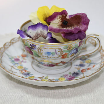 Schumann Germany Demitasse Floral Porcelain Cup and Saucer with Gold Trim and Garland