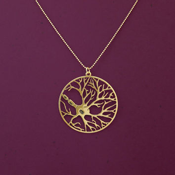 Neuron in a circle necklace- psychology necklace- biology jewelry- 24 Karat gold plated necklace