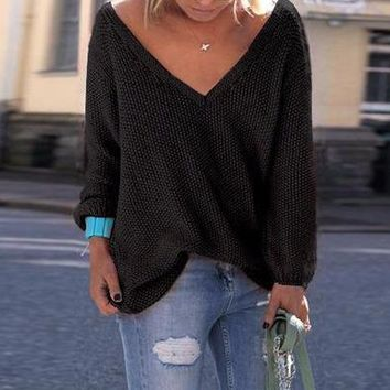 Woman's Black Wide V Neck Long Sleeve Sweater Top