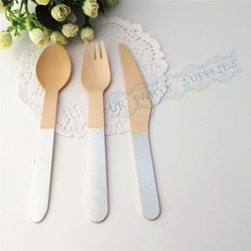 Free shipping 36pcs Ice Cream Party Birthday Silverware Foil Silver Stamped Wooden Party Utensils Spoons Forks Knives