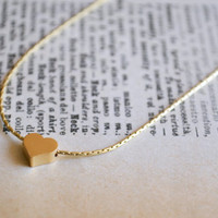 Mini Charm Necklace, Tiny Heart Gold Necklace, Love Jewelry, Dainty Necklace, Birthday Gift, Party Favors, Petite Charms, Minimalist