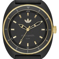 Men's adidas Originals 'Stan Smith' Leather & Silicone Strap Watch, 42mm - Black