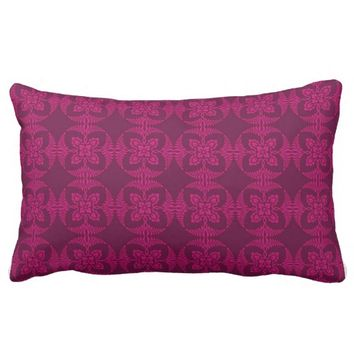 Girly Burgundy and Pink Geometric Floral Lumbar Pillow
