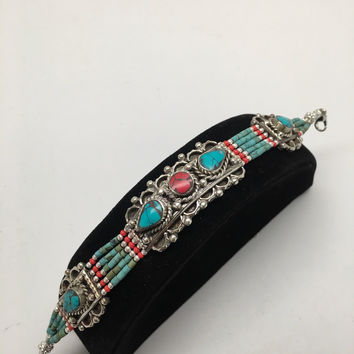 Vintage Nepalese Red Coral & Green turquoise Inlay Statement Bib Bracelet, NPB66