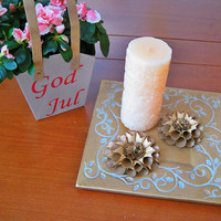 Set of 2 Rolled Rosette Paper Flowers,Gold Roses,Small Eco Friendly Decor,Paper Wedding Decoration,Eccentric Centerpiece,Rustic Table Top