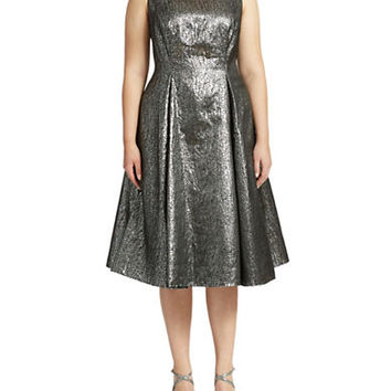 Adrianna Papell Plus Metallic Jacquard Cocktail Dress