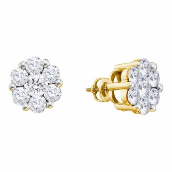 10kt Yellow Gold Women's Round Diamond Flower Cluster Stud Earrings 1/2 Cttw