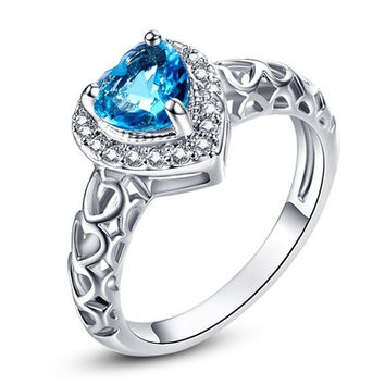 Love Heart Cut Blue Topaz White CZ Diamond Gemstone Jewelry 14K White Gold Plated Fashion Ring Size 6 7 8 9 10 11 12 13