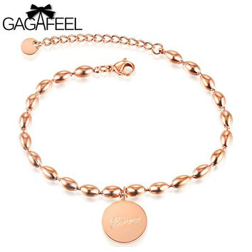 Gagafeel Laser Custom Engraving Logo Round Beads Woman Bracelet Jewelry Stainless Steel Rose Gold Wedding Charm Bangle