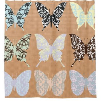 butterflies,whimsical,damasks,trendy,girly,pattern shower curtain