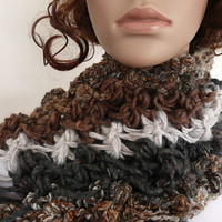 Scarf Hand Knit Brown Gray Light Grey Neck Warmer One of a Kind Chunky Knit  4 Beautiful Yarns Unique Earthy Winter Accessory