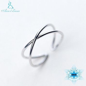 NEW Arrivals Silver 925 Ring 925 Sterling Silver Boho Twisted Cross Simple Fashion Jewelry Party Gift Womens Jewellery