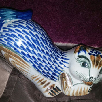 Mexican Tonala Pottery Figurine of Stretching Cat Signed -Made in Mexico